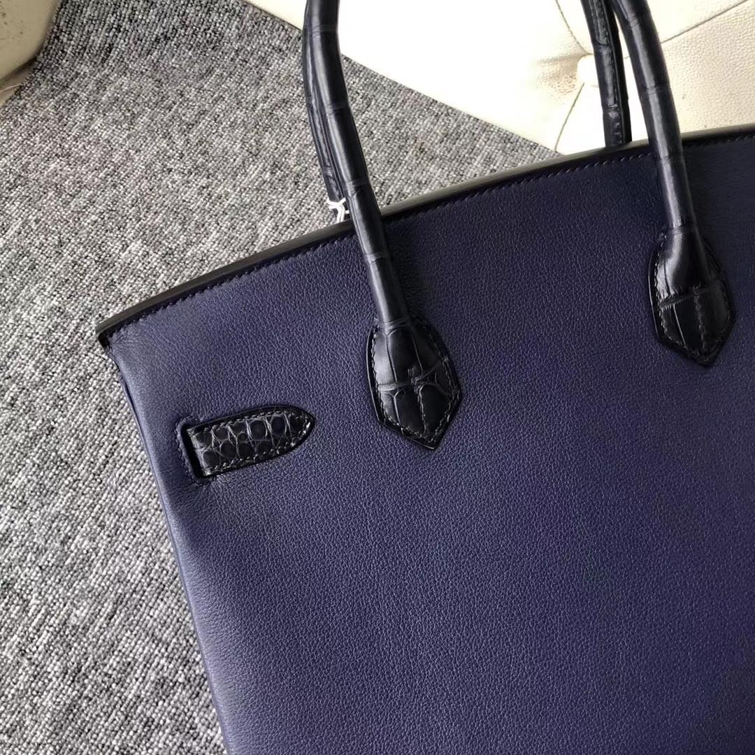 New Hermes Touch Birkin Bag Matt Crocodile/Chevre Leather Birkin30CM in Dark Blue