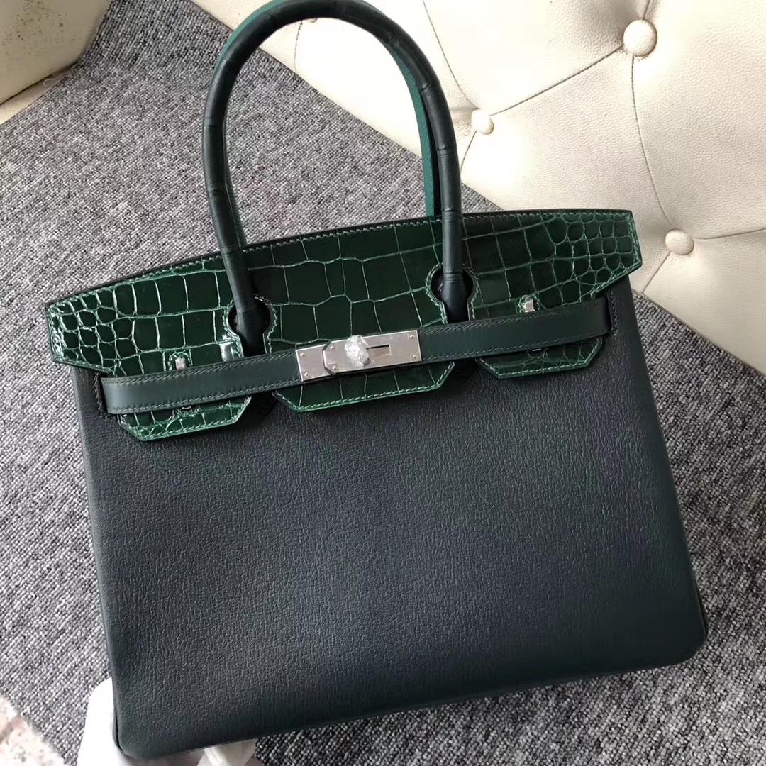 Discount Hermes Multi-color Shiny Crocodile/Chevre Leather Birkin30CM Bag Silver Hardware
