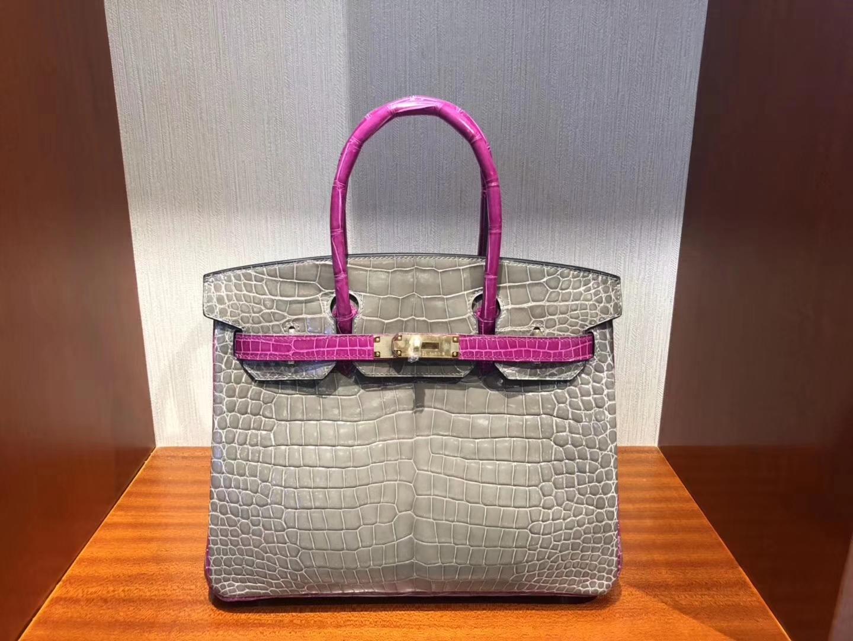 Wholesale Hermes CK81 Gris T/J5Rose Scheherazade Shiny Crocodile Birkin Bag30CM