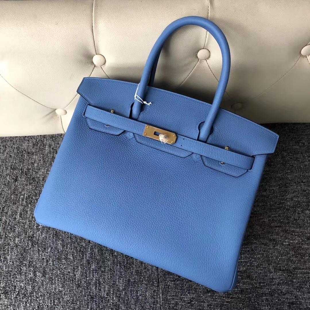 Wholesale Hermes Togo Calf Birkin30CM Tote Bag in P3 Blue De Nord Gold Hardware