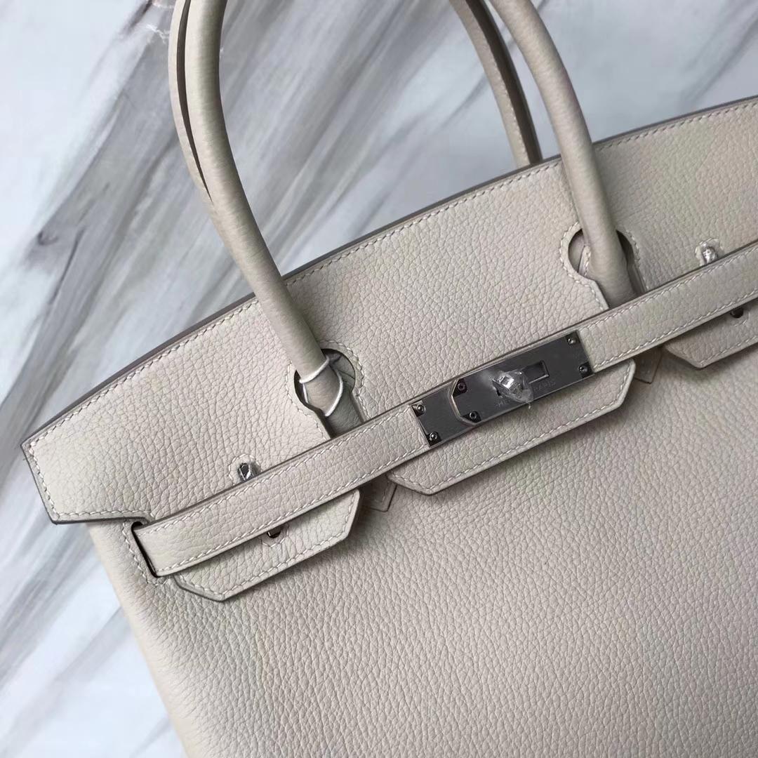 Elegant Hermes CK10 Craie White Togo Calf Birkin Bag30CM Silver Hardware