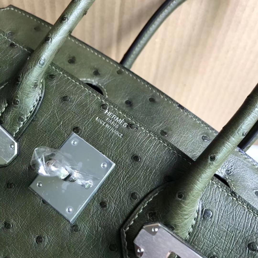 Hand Stitching Hermes KK Ostrich Birkin Bag30CM in 6H Vert Olive Silver Hardware