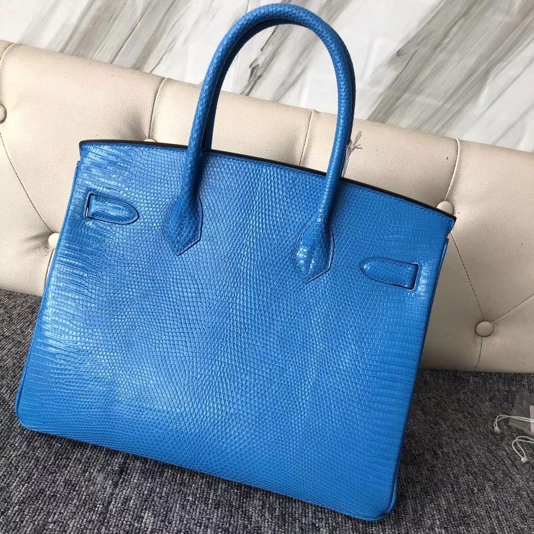 Customization Hermes 7W Blue Izmir Lizard Leather Birkin30CM Bag Silver Hardware