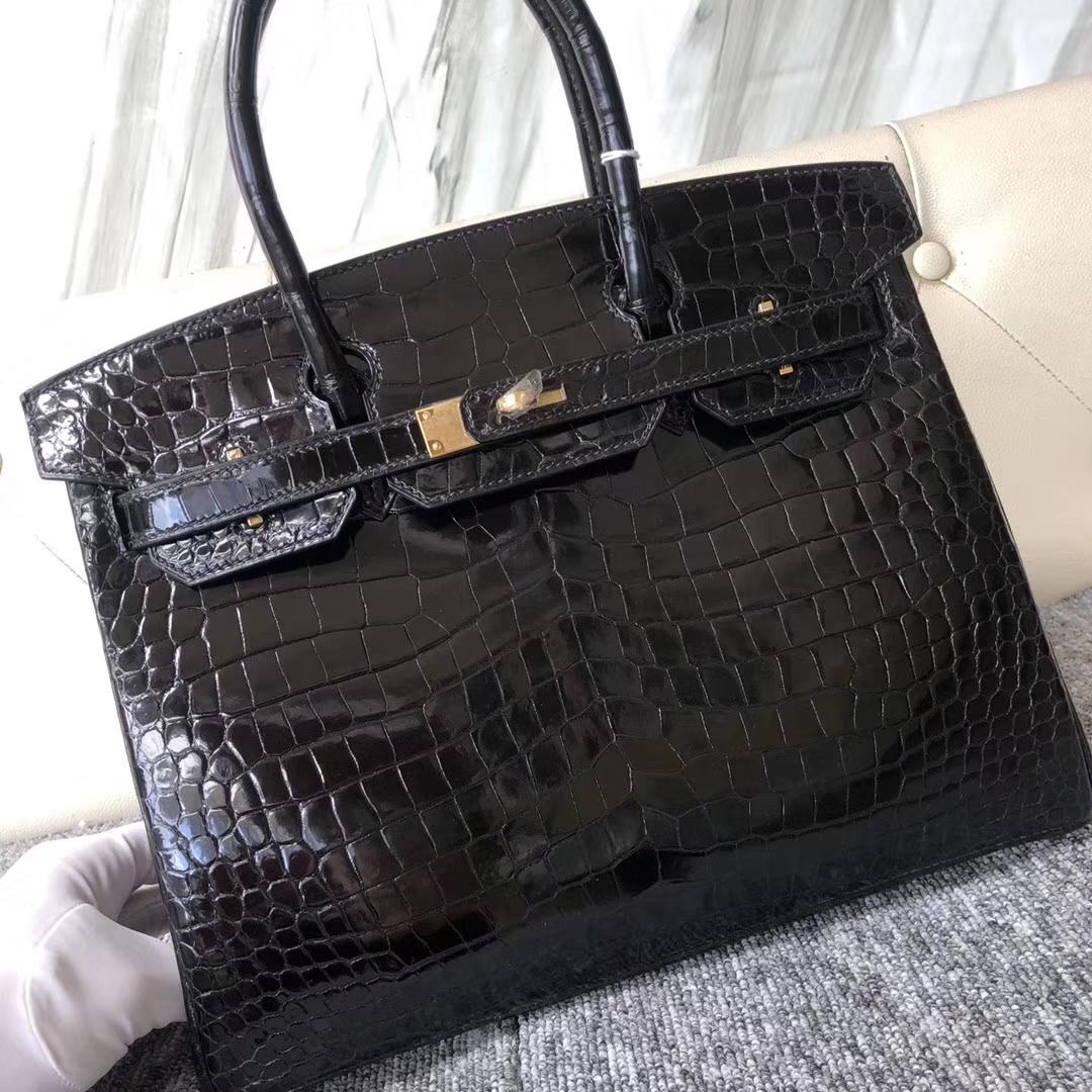 Fashion Hermes CK89Noir Shiny Crocodile Birkin Bag30CM Gold Hardware