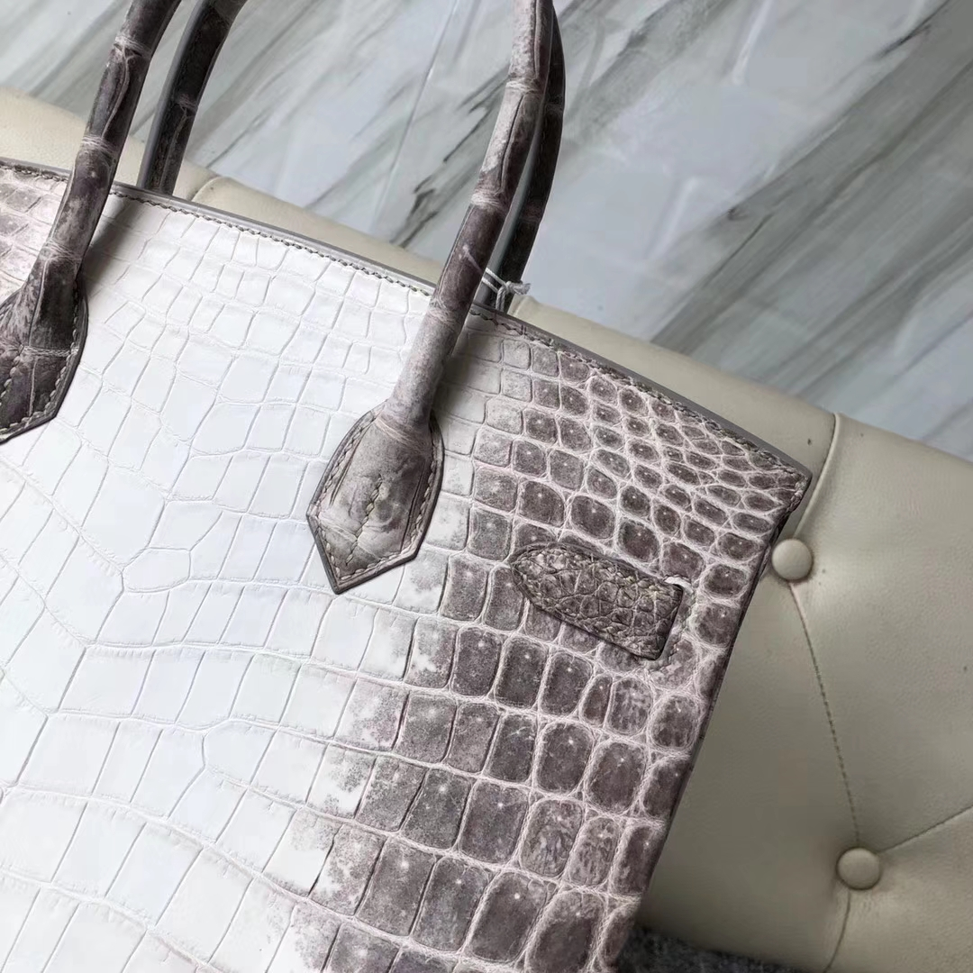Wholesale Hermes Himalaya Crocodile Leather Birkin Bag30CM Silver Hardware