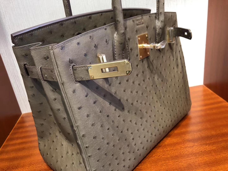 Discount Hermes CK18 Gris Etoupe KK Ostrich Birkin Bag30CM Gold Hardware
