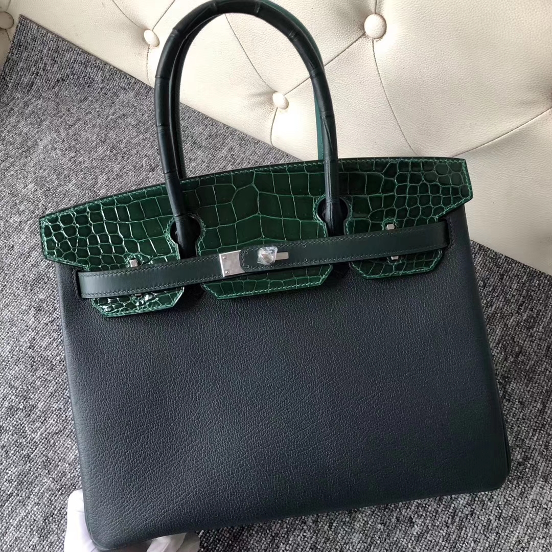 New Hermes Eight-color Shiny Crocodile/Chevre Leather Touch Series Birkin Bag30CM