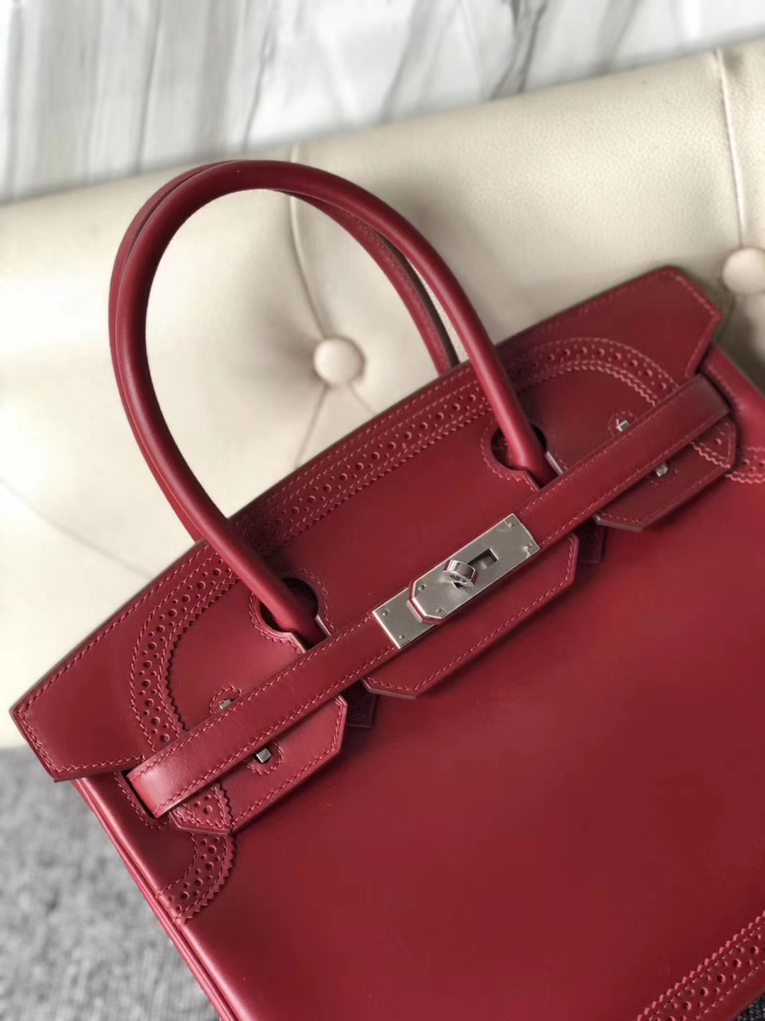 New Hermes Rouge Ruby Boxcalf Ghillies Birkin Bag30cm Silver Hardware