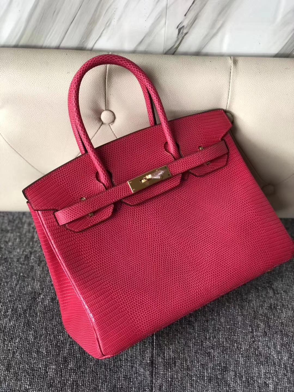 Pretty Hermes E5 Rose Tyrien Lizard Leather Birkin Bag30CM Gold Hardware