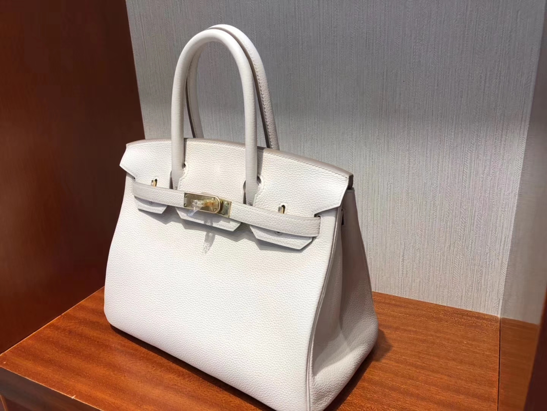 Sale Hermes Togo Calf Birkin30CM Bag in 8L Beton White Gold Hardware