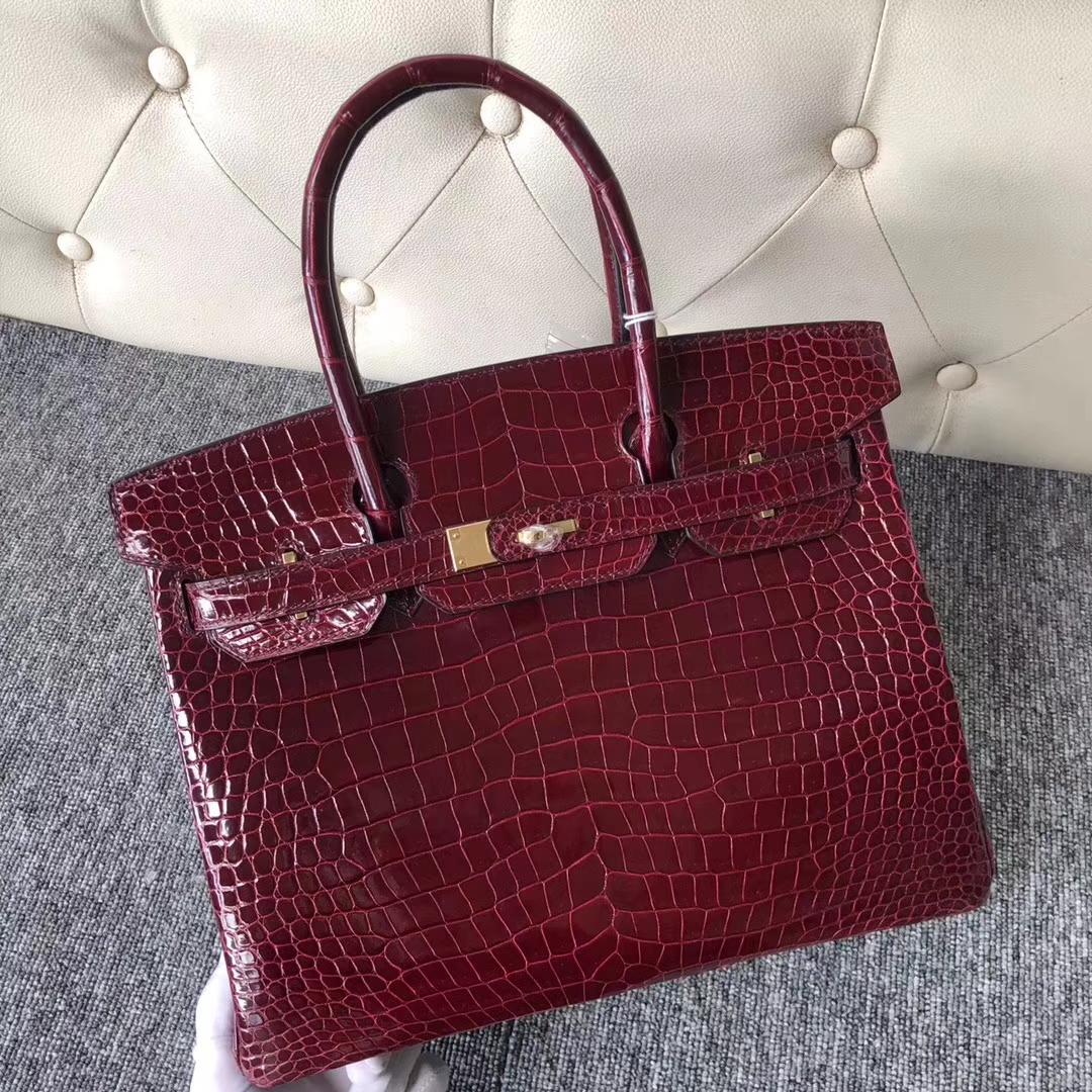 Customize Hermes F5 Rouge Bourgogne Shiny Crocodile Birkin30cm Bag Gold Hardware