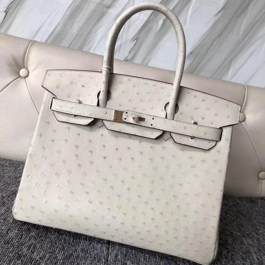 Fashion Hermes 3C Wool White KK Ostrich Birkin Bag30cm Gold Hardware