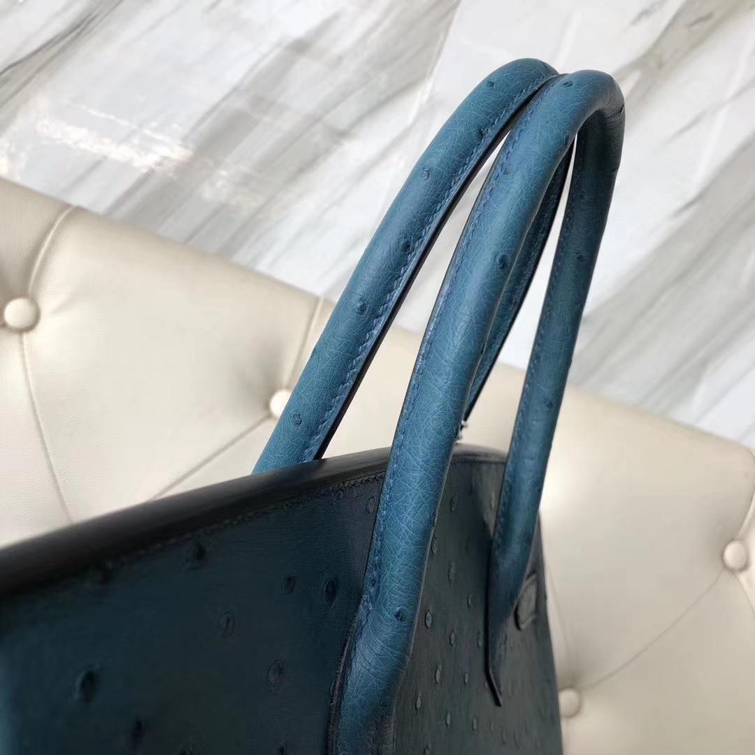 New Arrival Hermes 7C Blue Cobalt KK Ostrich Birkin30cm Bag Gold Hardware
