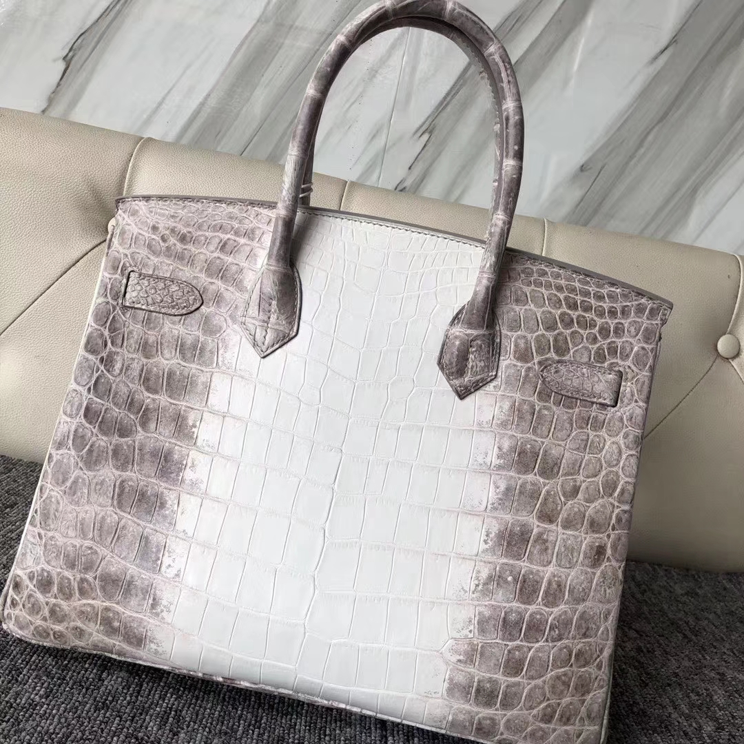 Wholesale Hermes Crocodile Leather Himalaya Birkin30CM Women's Bag Silver Hardware