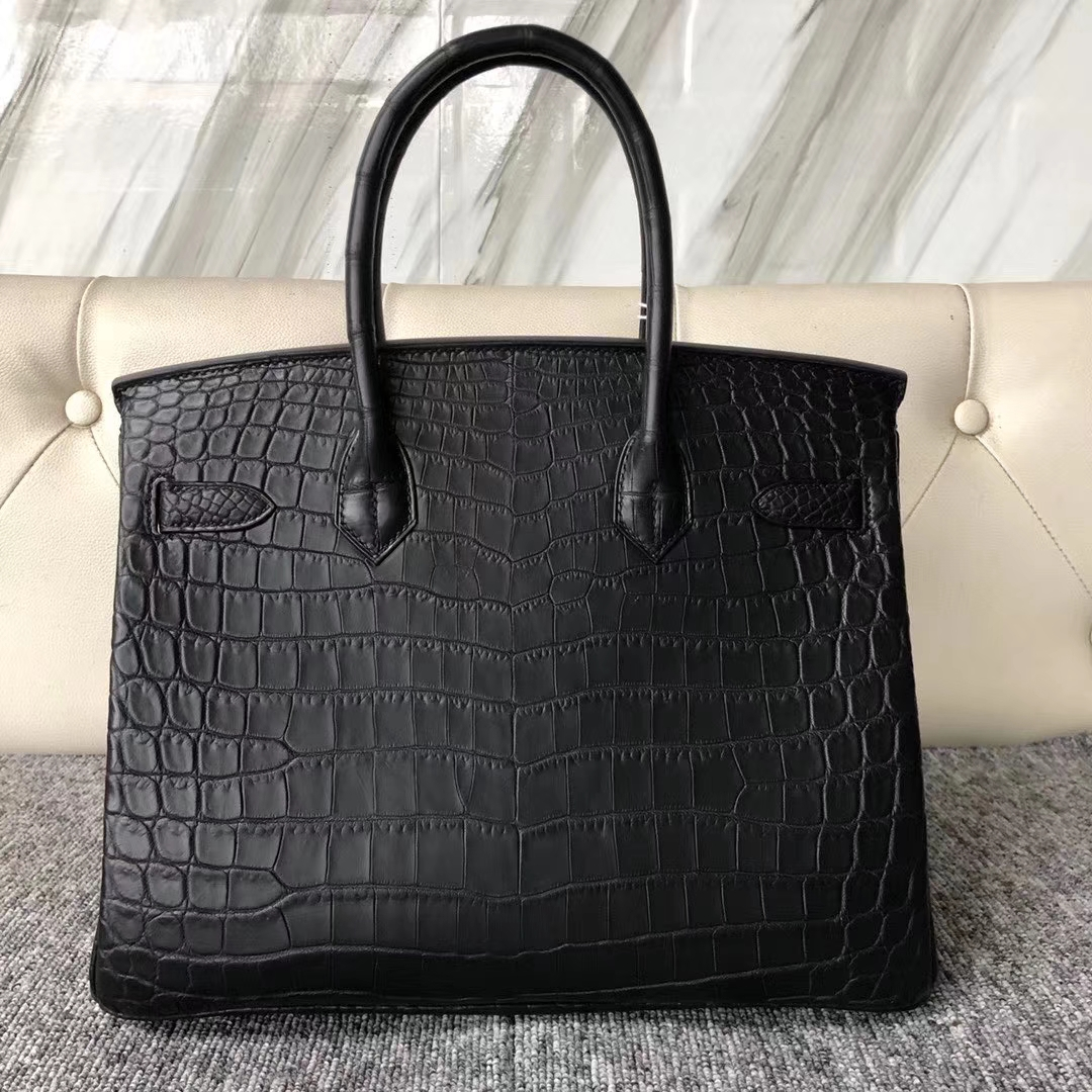 Customize Hermes CK89 Noir Matt Nilo Crocodile Birkin Bag30cm Gold Hardware