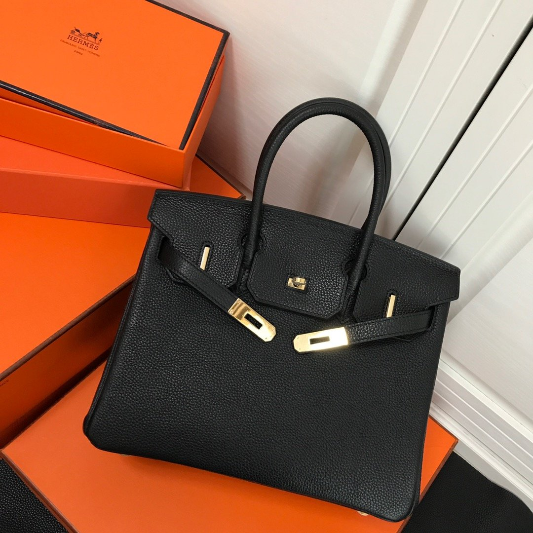 Hermes Birkin 30 Black Gold Hardware togo bag