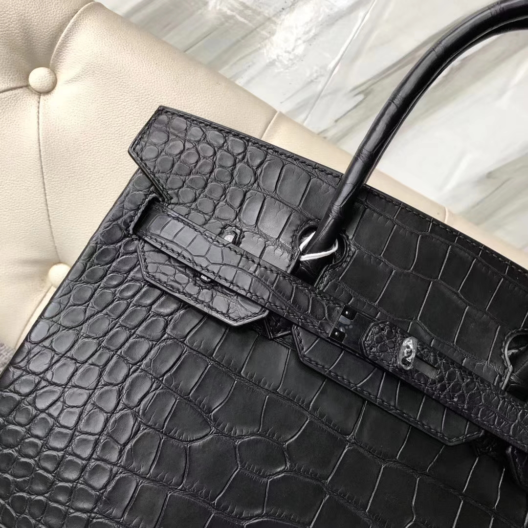 Discount Hermes Matt Crocodile Birkin30cm Bag CK89 Noir Black Hardware