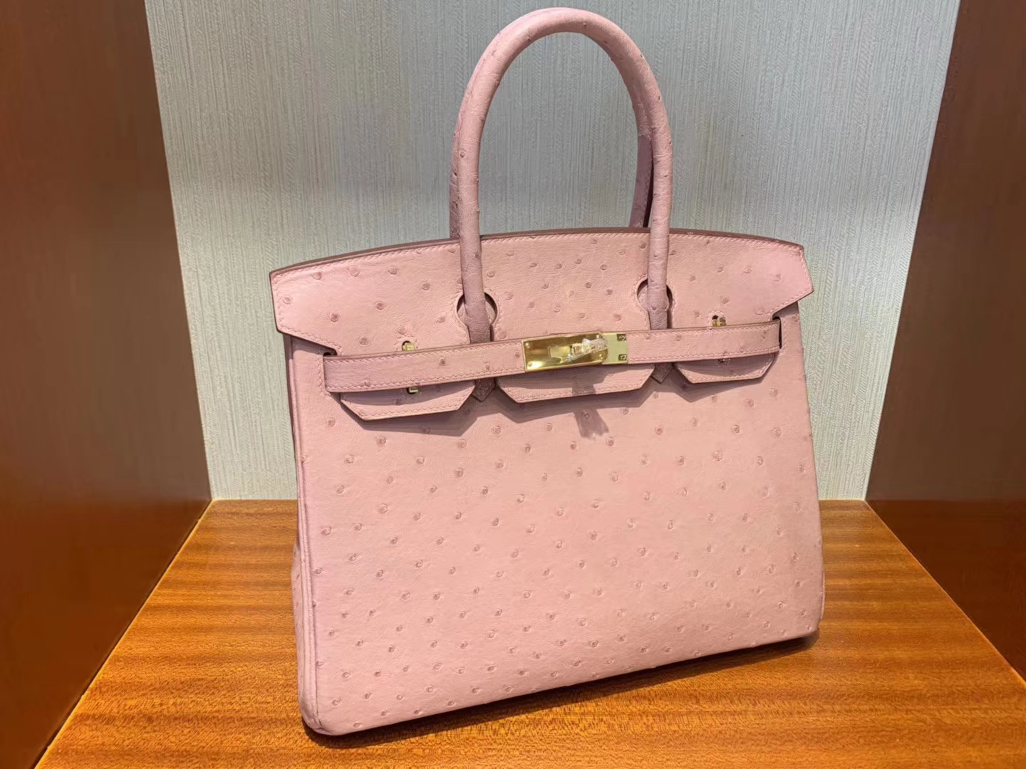 Pretty Hermes KK Ostrich Leather Birkin Bag30cm CK94 Terre Cuite Gold Hardware