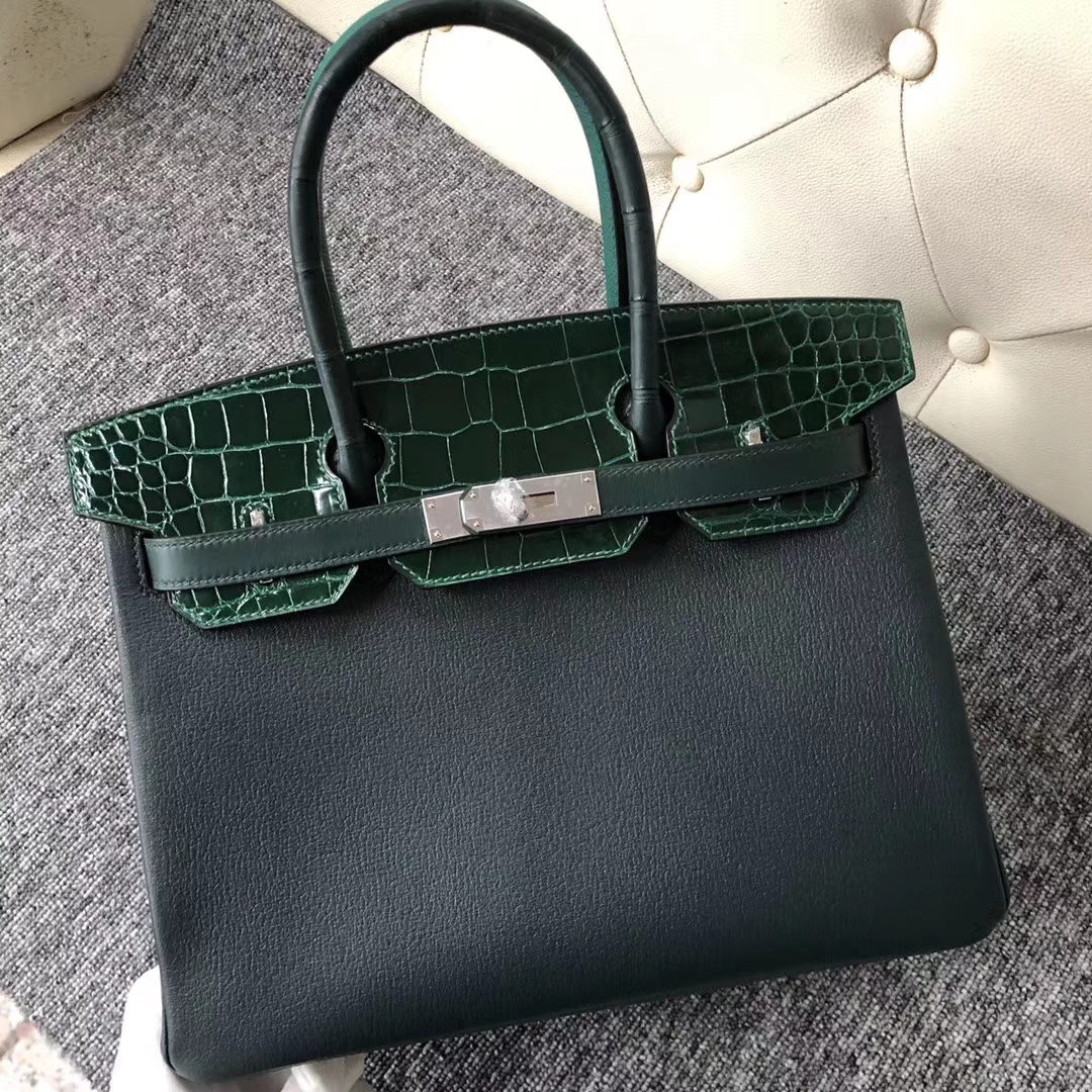 Stock Hermes Eight-color Shiny Crocodile/Togo Leather Birkin30CM Bag Silver Hardware