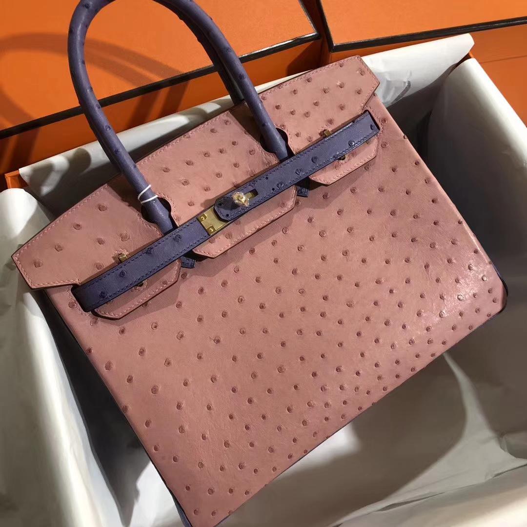 Customize Hermes CC94 Terre Cuite/Blue Brighton KK Ostrich Birkin30cm Bag Gold Hardware