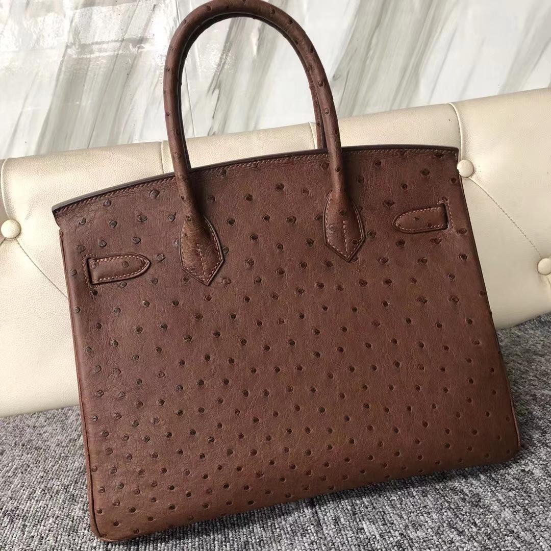 Customize Hermes ChocolateColor KK Ostrich Birkin30cm Bag Silver Hardware
