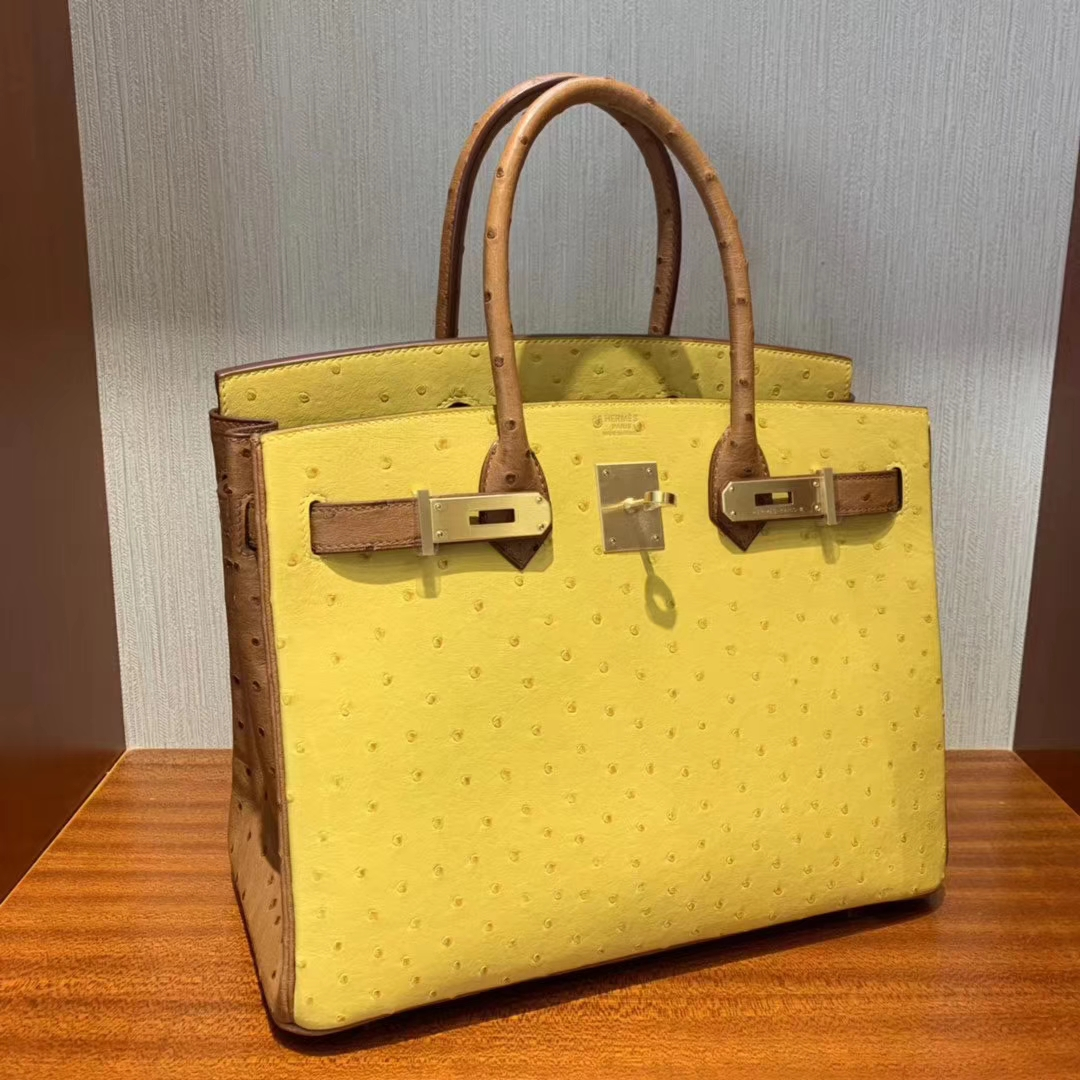 Stock Hermes 9D Ambre Yellow & CK37 Gold KK Ostrich Birkin30cm Bag Gold Hardware