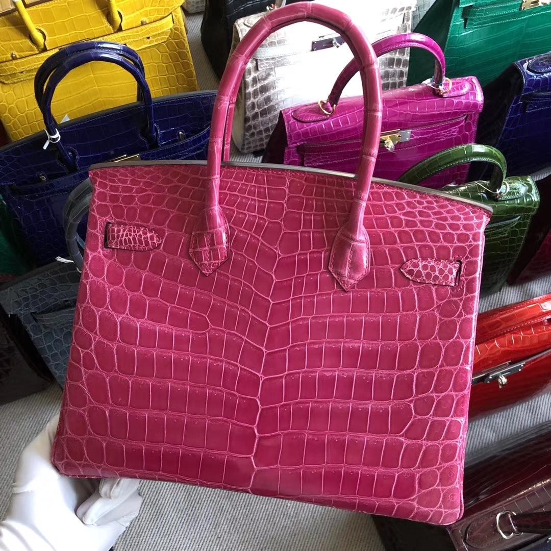 Stock Hermes Shiny Crocodile Birkin Bag30CM in 5J Rose Peach Silver Hardware