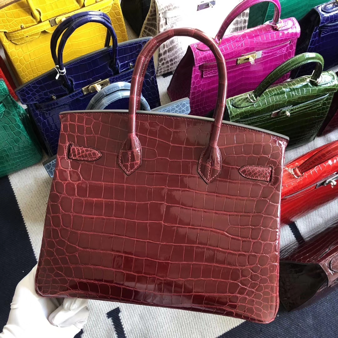 Stock Hermes F5 Rouge Bourgogne Shiny Crocodile Birkin30CM Bag Gold Hardware