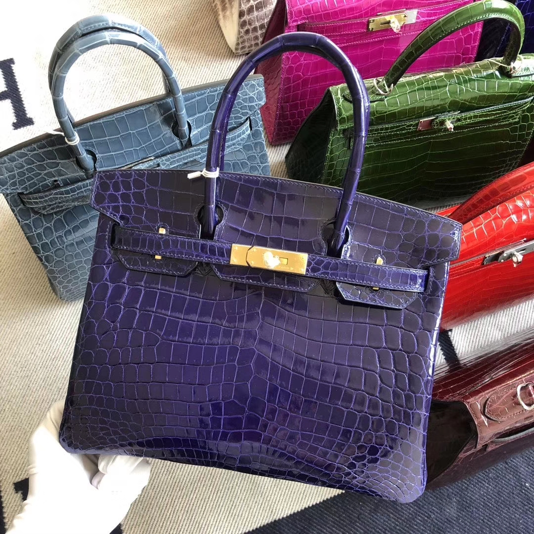 Stock Hermes Shiny Crocodile Birkin Bag30CM in 7T Blue Electric Gold Hardware