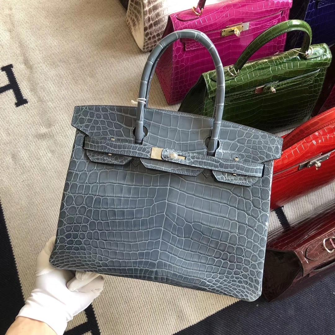 Stock Hermes Shiny Crocodile Blue Jean Birkin Bag30CM Silver Hardware