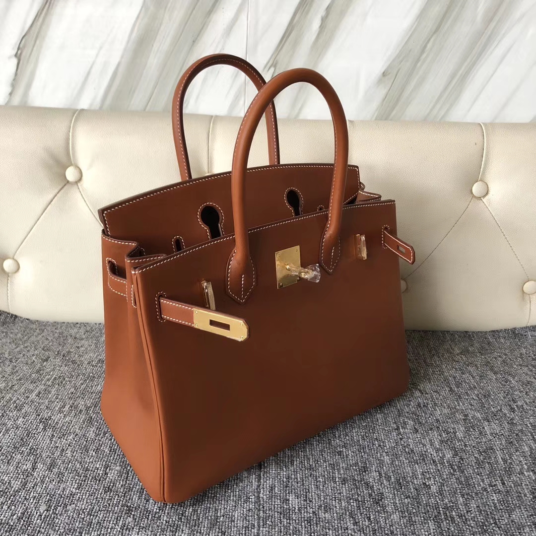 New Hermes CK37 Gold Bareniz Natural Leather Birkin30CM Bag Gold/Silver Hardware