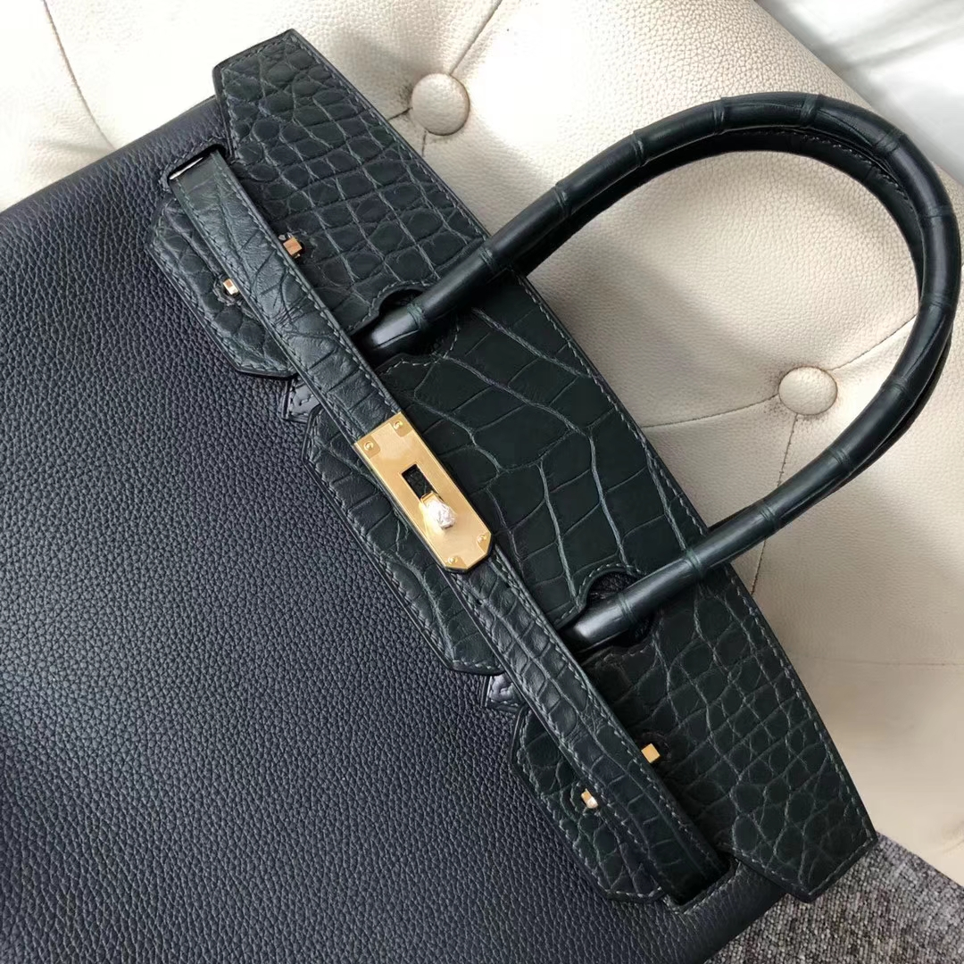 Customize Hermes Touch Series Birkin30CM in 6O Vert Cypress Gold Hardware