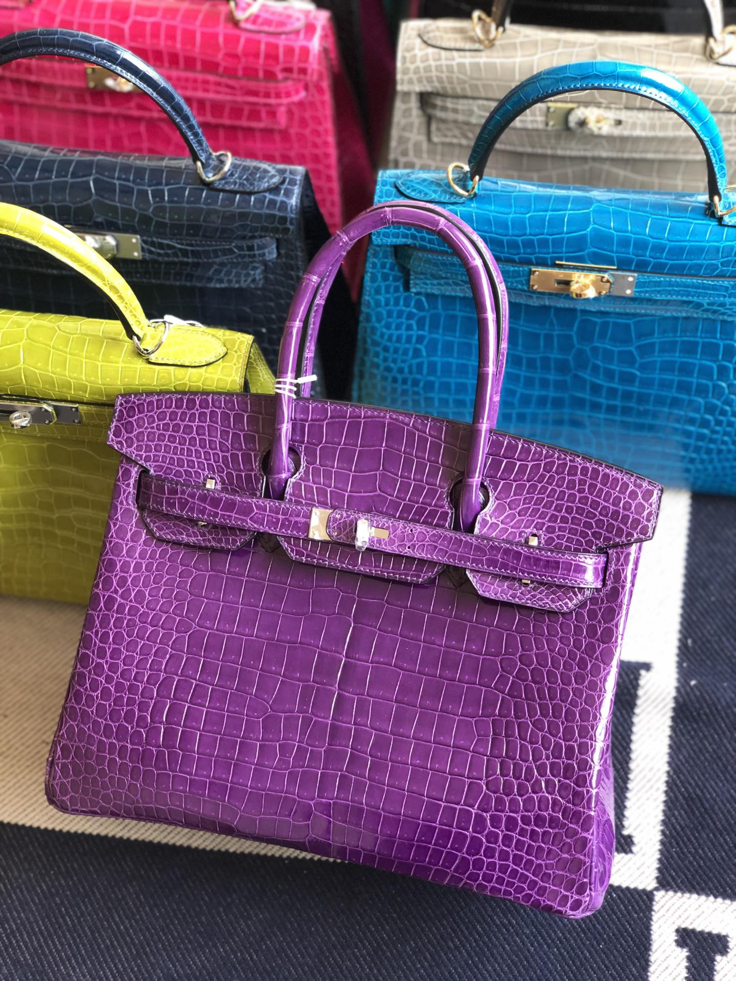 Stock Hermes Shiny Crocodile Birkin Bag30CM in Violet Silver Hardware