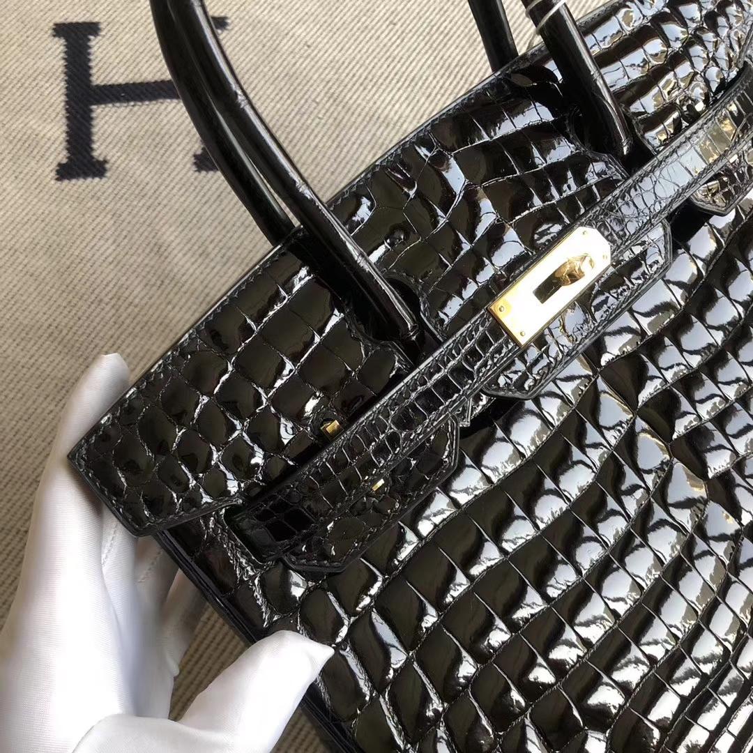 Stock Hermes CK89 Noir Shiny Crocodile Birkin25CM Bag Gold Hardware