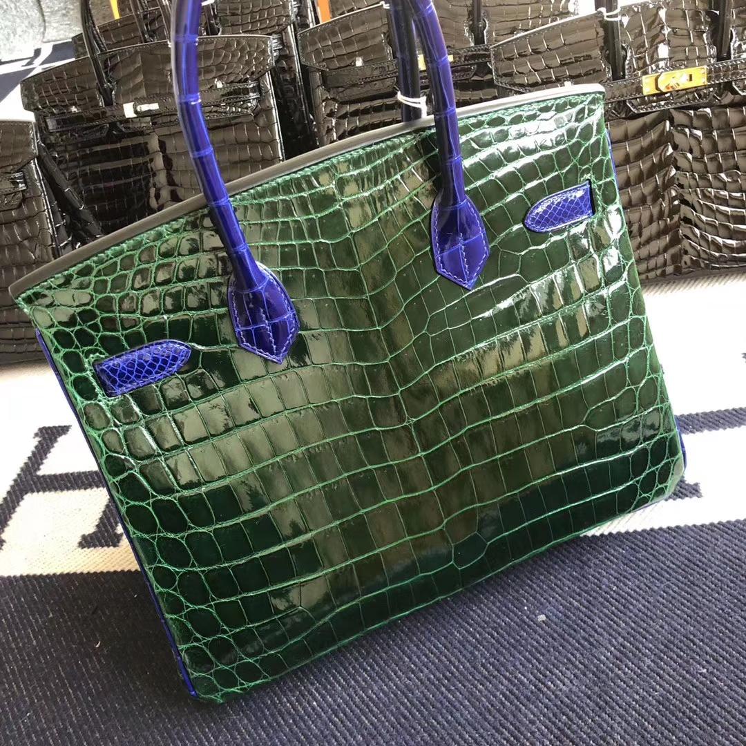Customize Hermes Shiny Crocodile Birkin30CM Bag CK67 Vert Fonce/7T Blue Electric