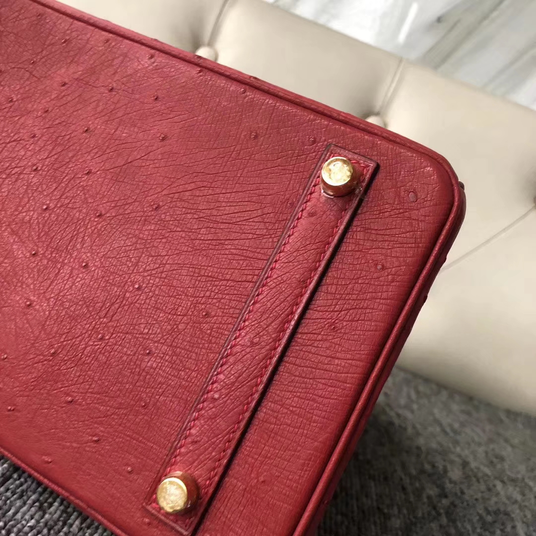 Pretty Hermes KK Ostrich Birkin30CM Bag Rouge Casaque Gold Hardware