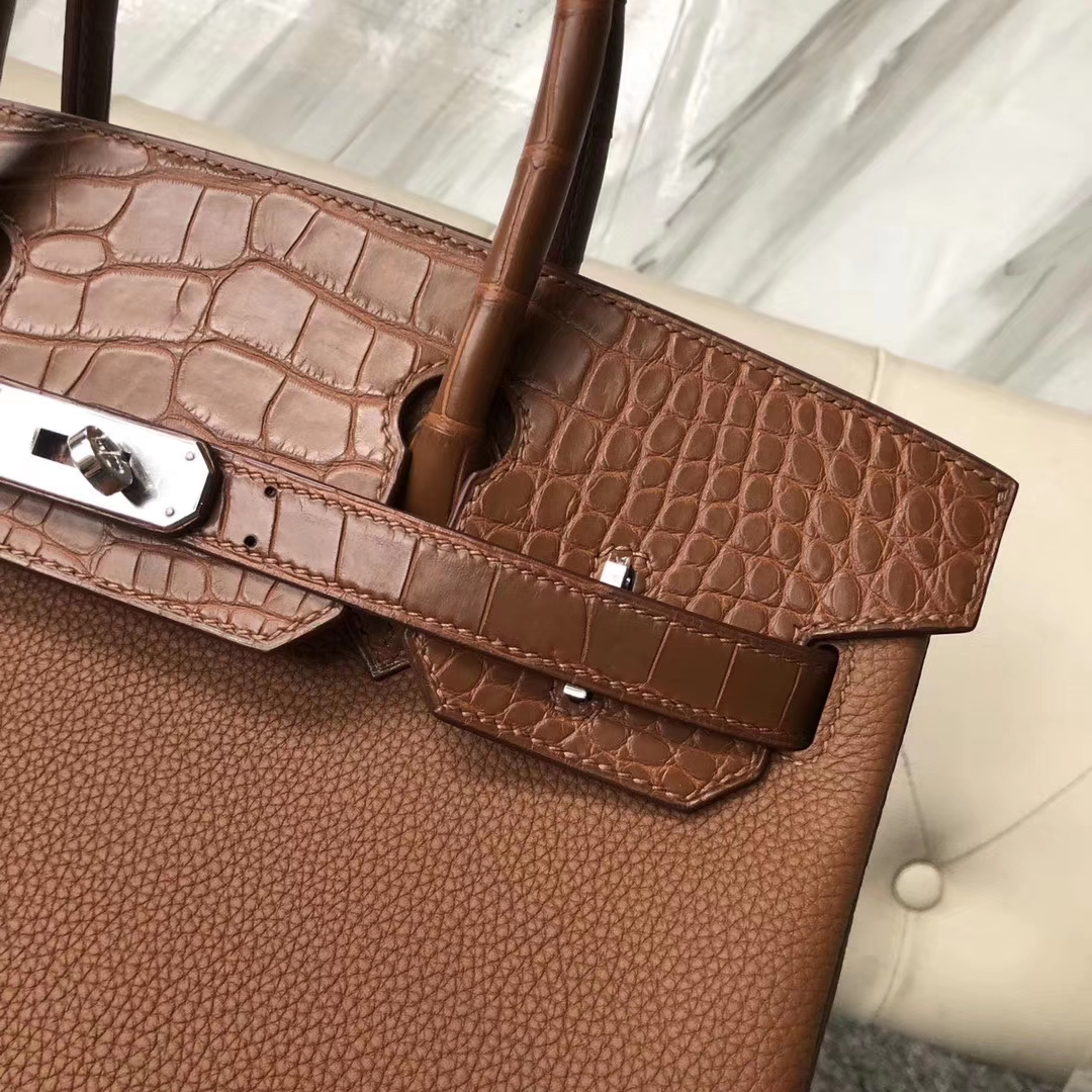 Customize Hermes CK37 Gold Touch Series Birkin Bag30CM Silver Hardware