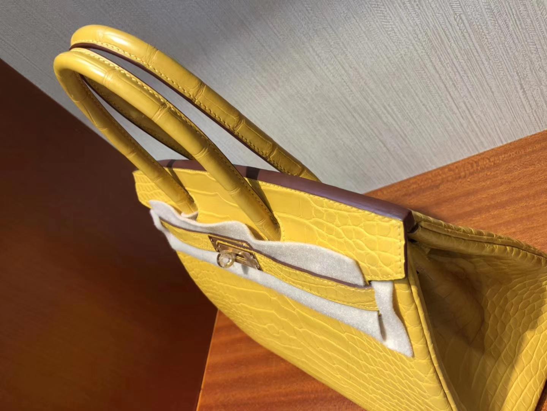 Fashion Hermes 9D Ambre Matt Alligator Crocodile Birkin30CM Bag Gold Hardware