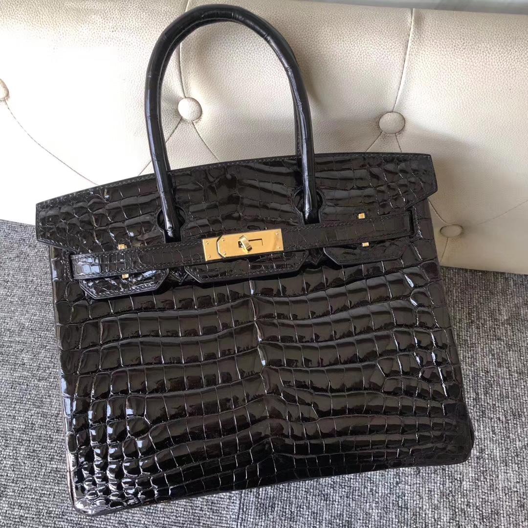 Stock Hermes Crocodile Shiny Birkin30cm Bag CK89 Noir Gold Hardware