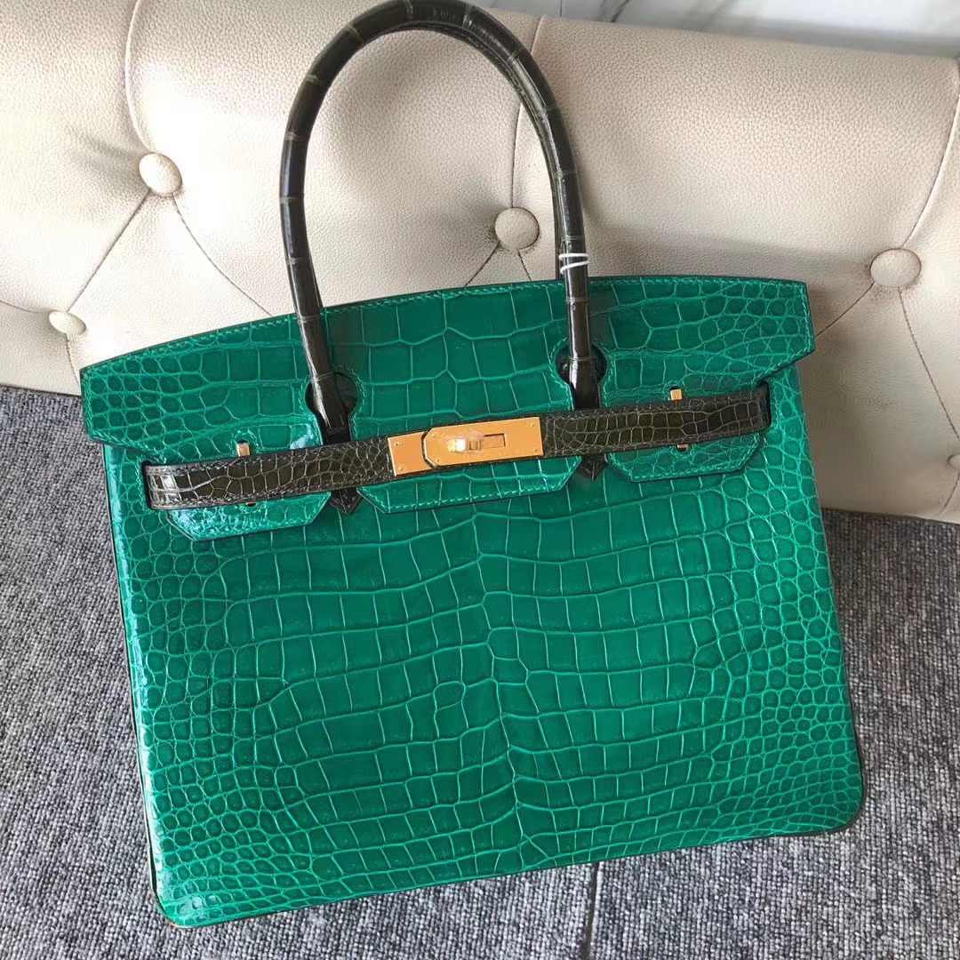 New Hermes Shiny Crocodile Birkin30cm Bag 6Q Vert Emerald/6H Vert Olive Gold Hardware