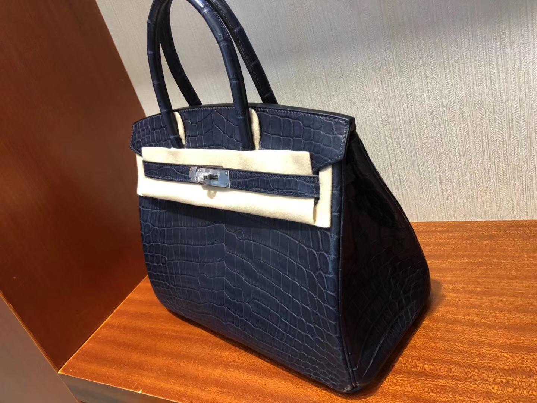 Customize Hermes 73 Blue Indgo Matt Crocodile Birkin30cm Bag Silver Hardware