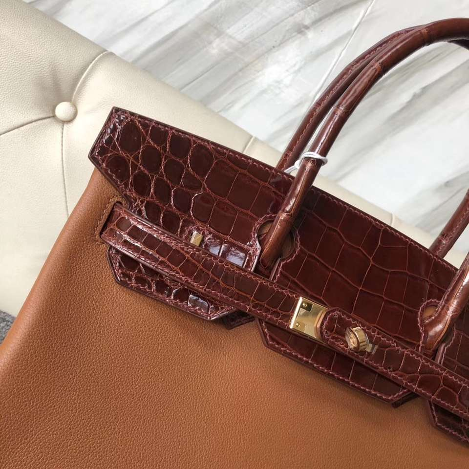 Hermes Touch Series CK37 Gold Evecolor/Miel Shiny Crocodile Birkin Bag30CM Gold Hardware