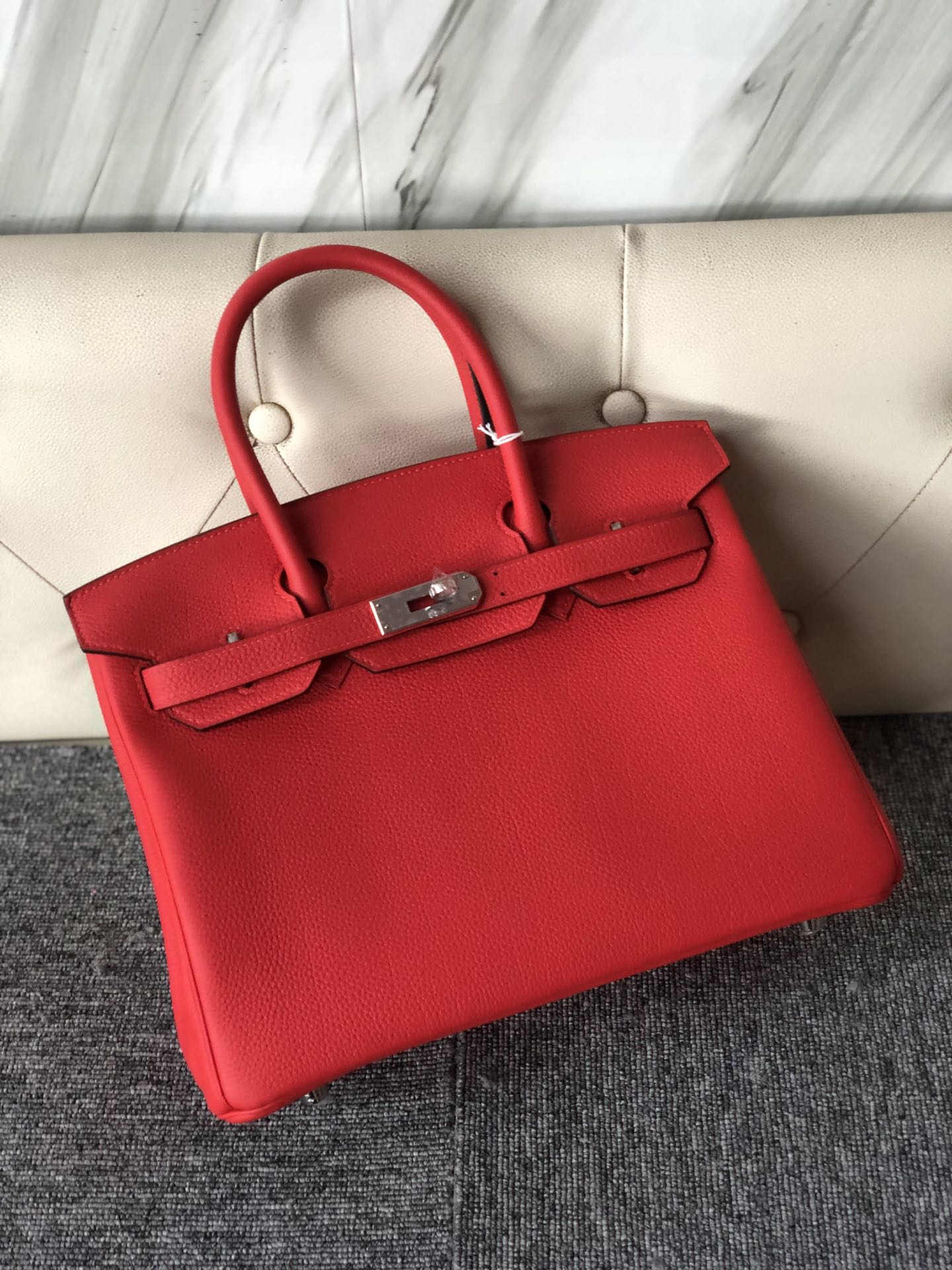 Stock Hermes Togo Calf Birkin30cm Bag in S3 Rose de Coeur Silver Hardware