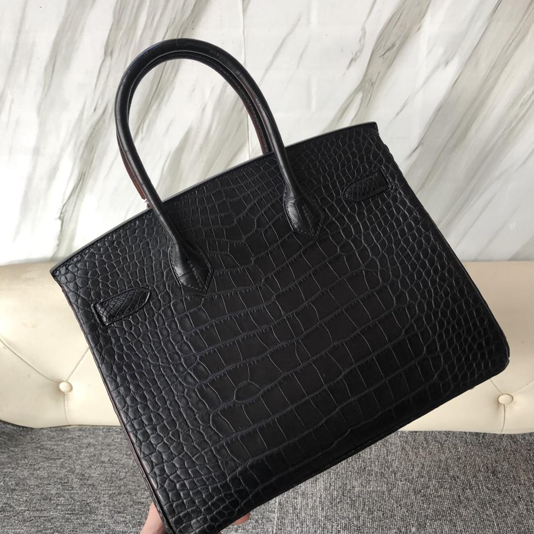 Stock Hermes CK89 Noir Matt Crocodile Birkin Bag30cm Gold Hardware