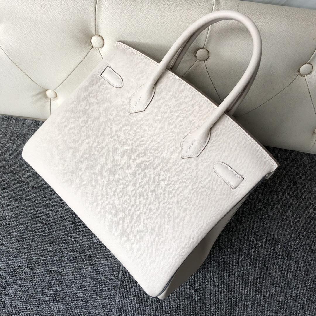 Customize Hermes CK10 Craie White/Vert Amande Epsom Birkin30cm Bag Silver Hardware