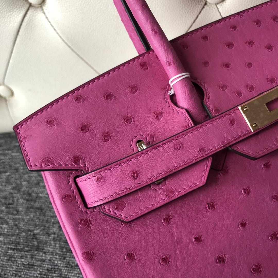 Fashion Hermes E5 Hot Pink KK Ostrich Birkin Bag30cm Gold Hardware
