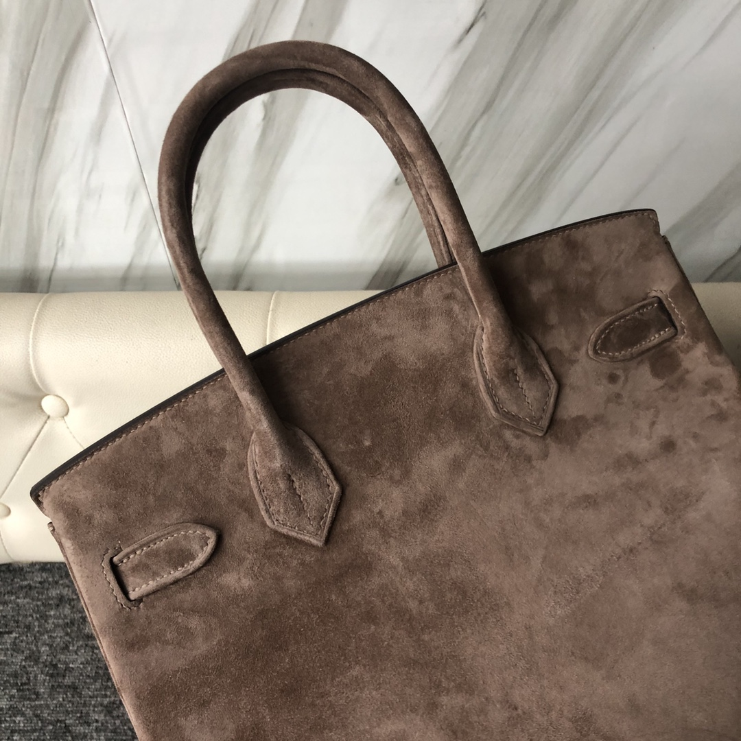 New Arrival Hermes Grey Suede Leather Birkin Bag30cm Silver Hardware