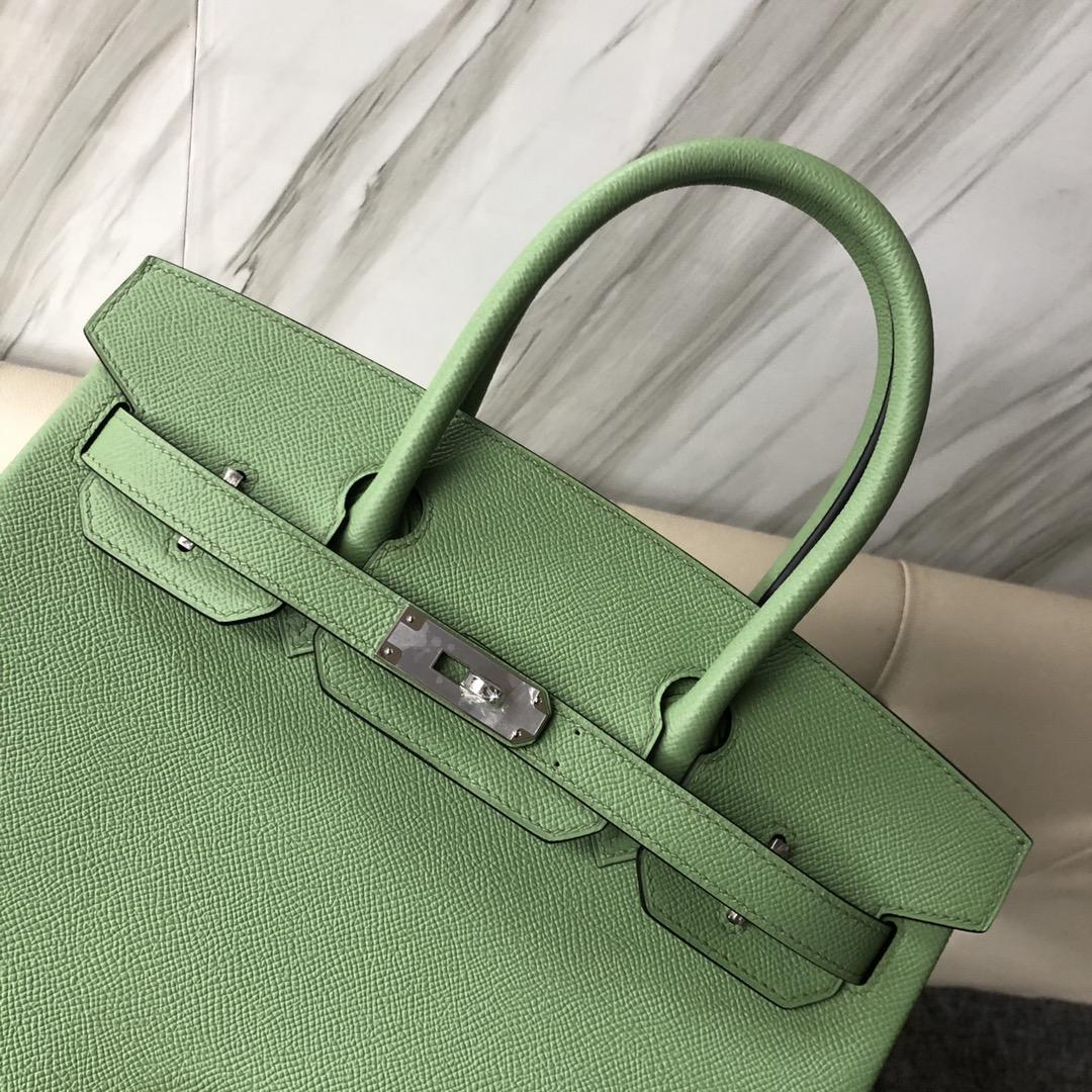 Fashion Hermes Epsom Calf Birkin30cm Bag 3I Vert Criquet Silver Hardware