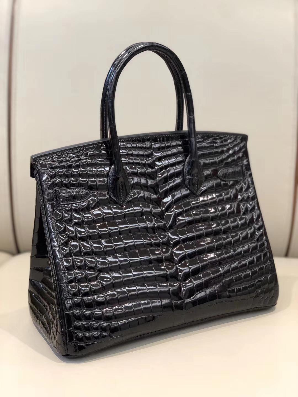 Stock Hermes Noble CK89 Noir Shiny Crocodile Birkin30cm Bag Gold Hardware