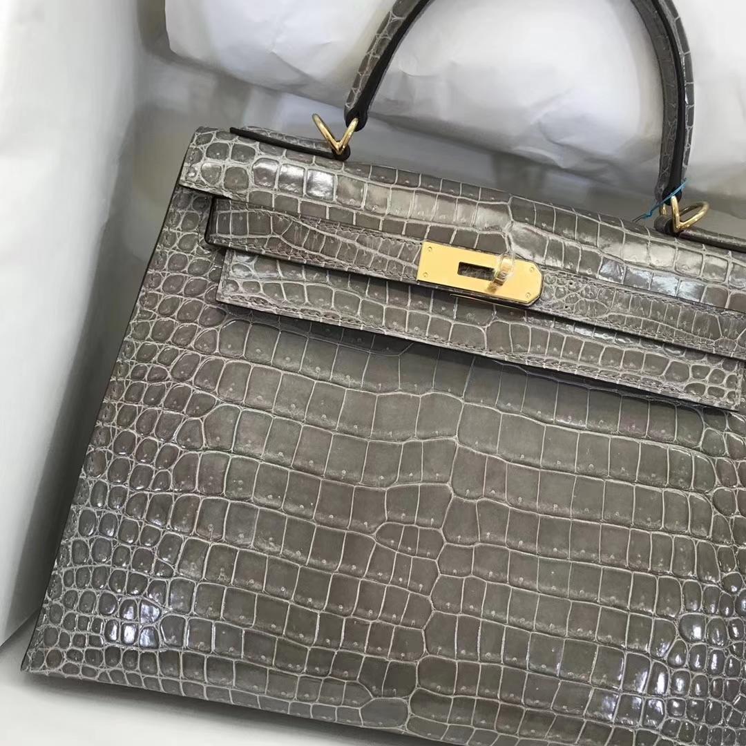 Wholesale Hermes C81 Gris Tourterelle Crocodile Leather Kelly28CM Bag Gold Hardware